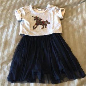 GAP kids unicorn flip sequins dress - size 8 M